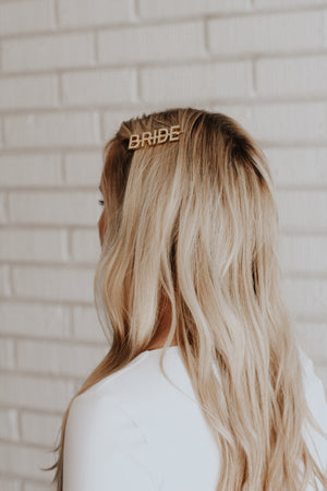 the mine company gold and pearl letter bride hair pin clip barrette