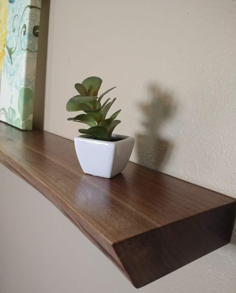 Natural Edge Black Walnut Floating Shelf
