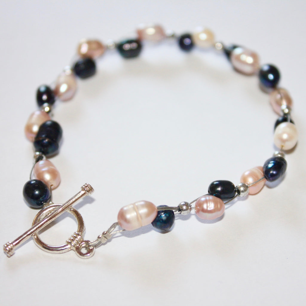 Blue and Pink Freshwater Pearl Bracelet