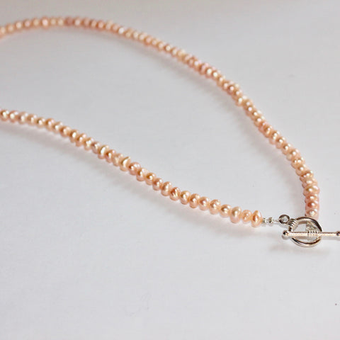 Small Peach Freshwater Pearl Necklace