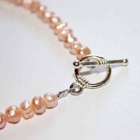 Small Peach Freshwater Pearl Bracelet