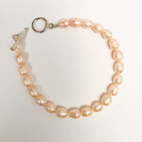 Light Coral Peach Freshwater Pearl Bracelet