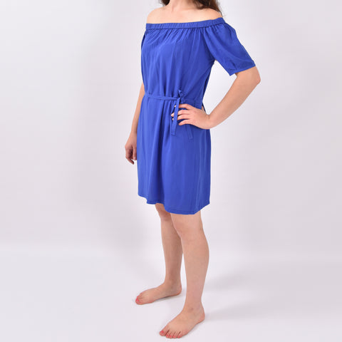 Organza Blue Elastic Off Shoulder Dress