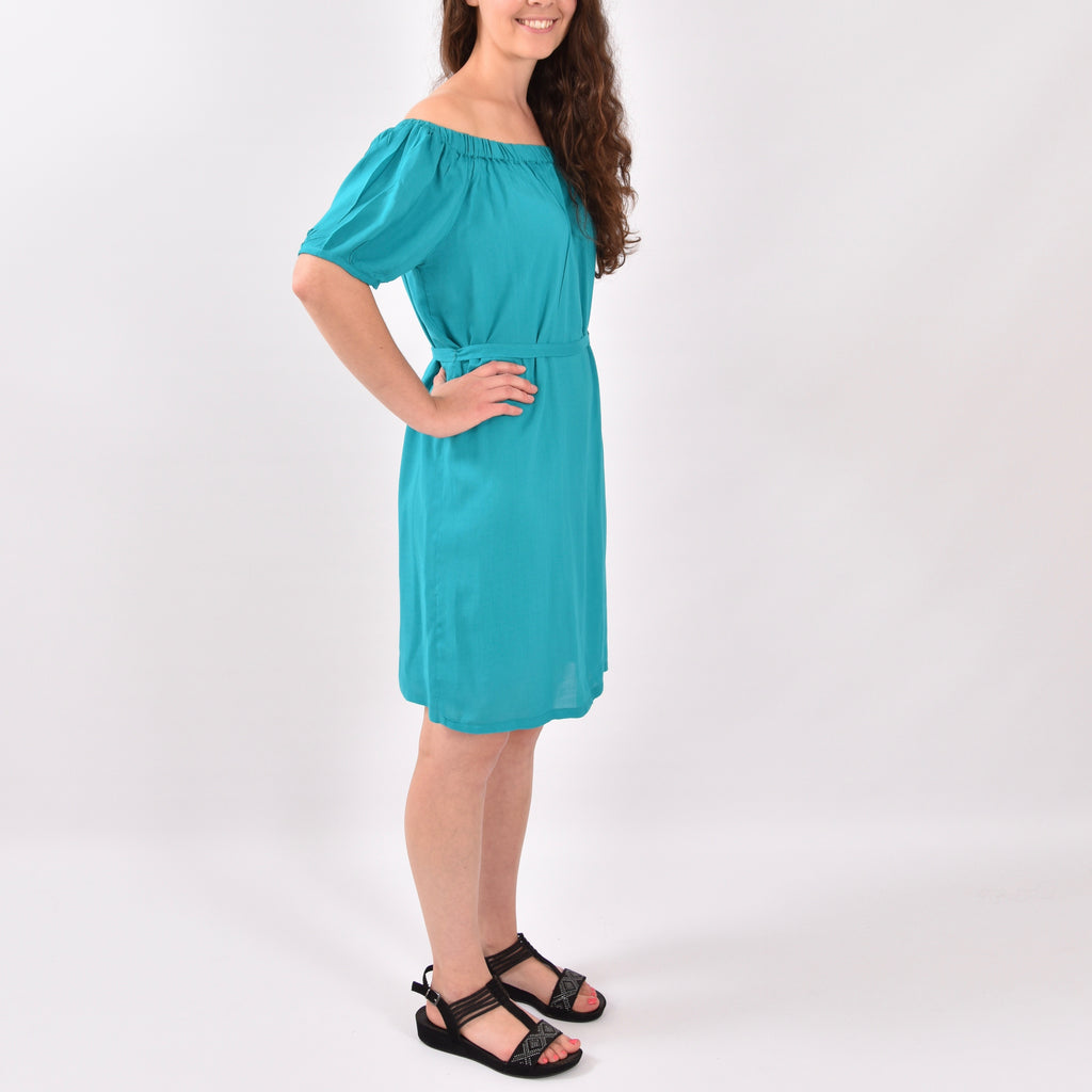 Organza Jade Green Elastic Off Shoulder Dress