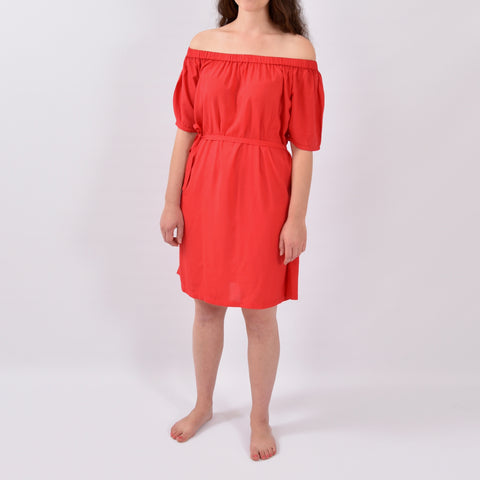 Organza Red Elastic Off Shoulder Dress