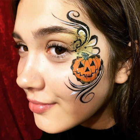 Halloween Face Paint Pumpkin Idea