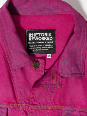 Bright Pink Sleeveless Denim Jacket with blue detailing - Size XXL