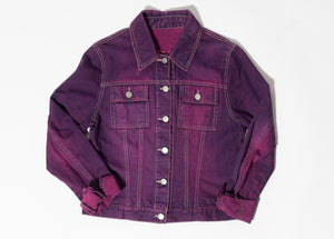 Purple and Pink Denim Jacket with RHETORIK Embroidered on Back - Size XS