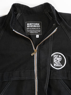 Black Denim Zip Jacket with RHETORIK on Back and Small Logo on Front - Size M
