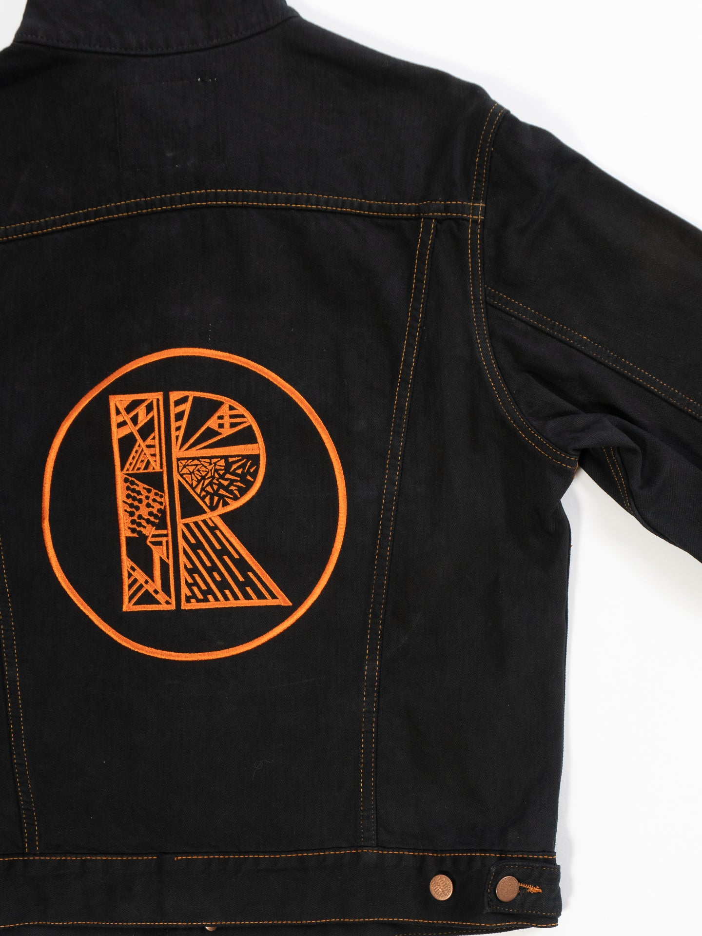 Black Denim Jacket with Orange Rhetorik Logo on Back - Size XXL