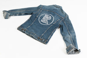 Blue Denim Jacket with small Rhetorik R on front and large Rhetorik Logo on back  - Size XS