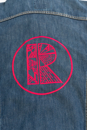 Blue Denim Jacket With Vibrant Pink Rhetorik Logo on Back - Size XXL
