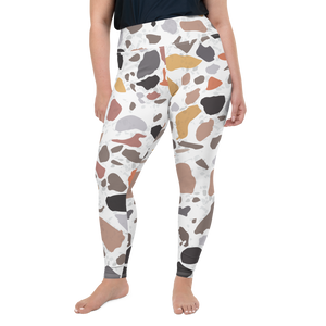 Terracotta and Earthy Terrazzo Accent on White Plus Size Curvy High Waist Yoga Leggings