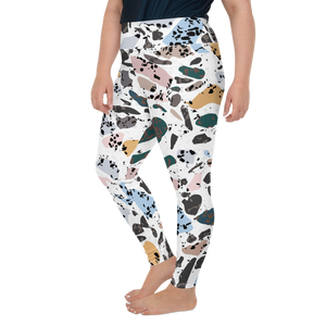 Green and Blue Terrazzo Accent on White High Waist Plus Size Yoga Leggings