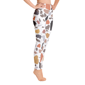 Terracotta and Earthy Terrazzo Accent on White High Waist Yoga Leggings