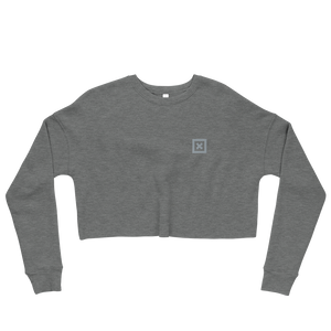 "Flat lay of Grey Xoo Life crop sweatshirt with small, grey  embroidered ""x"" on left chest"