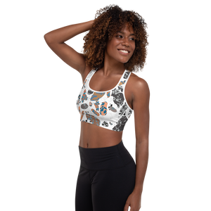 Terracotta and Brown and Turquoise Terrazzo Accent on White Padded Sports Bra
