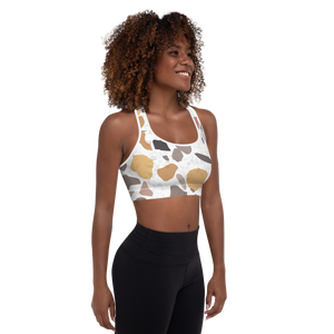 Terracotta and Earthy Terrazzo Accent on White Padded Sports Bra