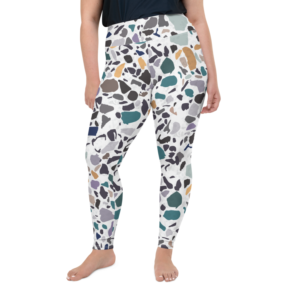 Green and Lavender Terrazzo Accent on White High Waist Plus Size Yoga Leggings