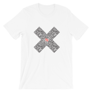 Flat lay of White unisex Xoo Life T-shirt with graphic number 33 in red print in the middle of a large patterned X.