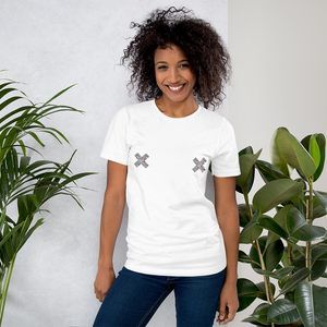 Female model wearing a White unisex Xoo Life T-shirt with two graphic x's in black and red on each breast.