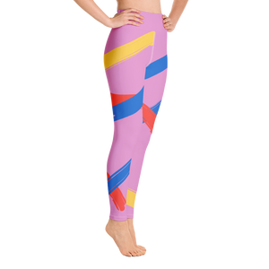 Pink Brush Stroke High Waist Yoga Leggings