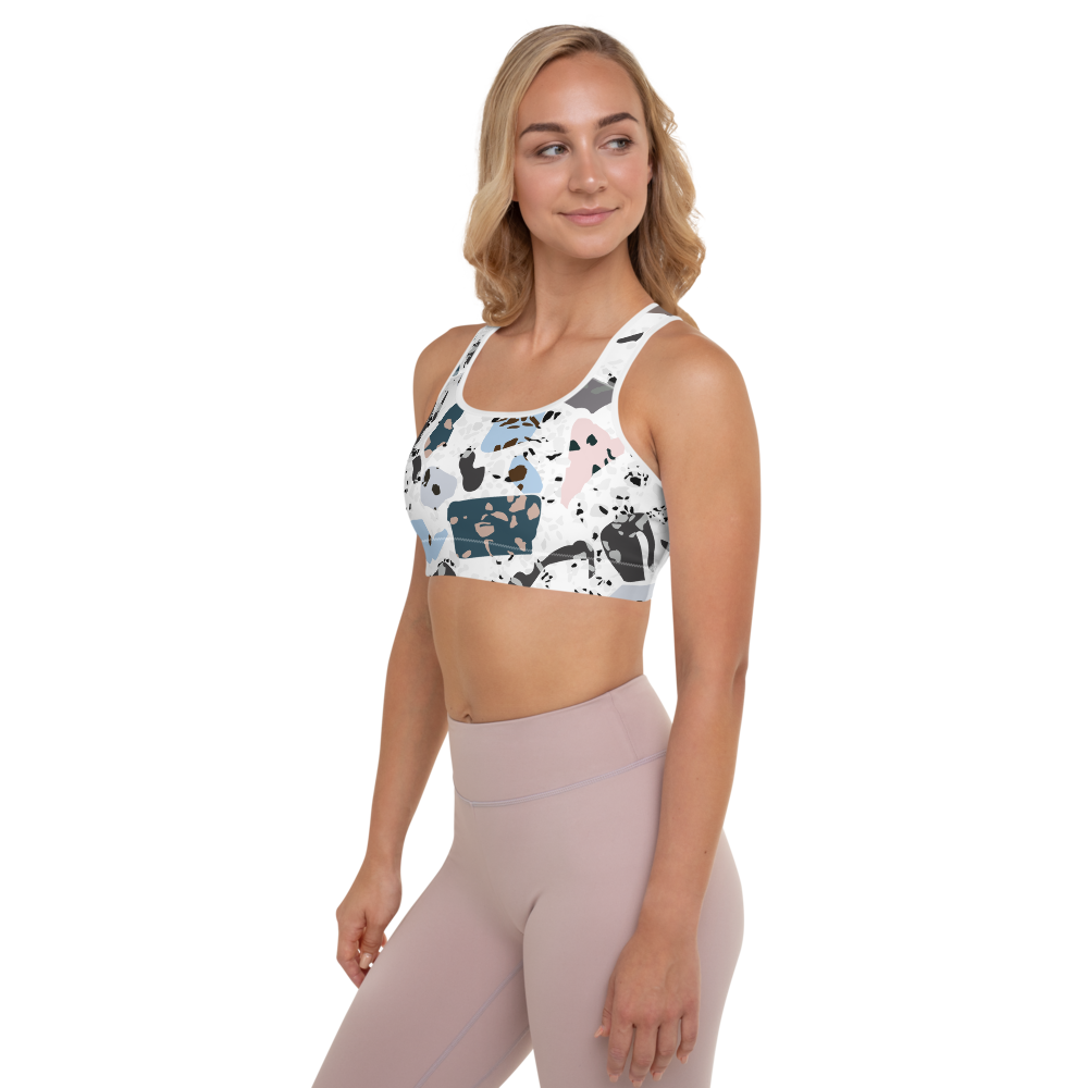 Green and Blue Terrazzo Accent on White Padded Sports Bra