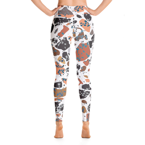 Terracotta and Brown and Turquoise Terrazzo Accent on White High Waist Yoga Leggings