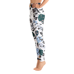 Green and Blue Terrazzo Accent on White High Waist Yoga Leggings