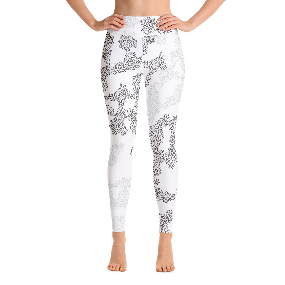 "White high-waisted Xoo Life leggings with grey and black ""S"" pattern"