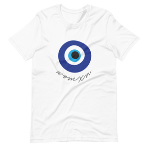 "Flat lay of White unisex Xoo Life t-shirt with evil eye graphic and handwritten text below it saying ""womxn"""