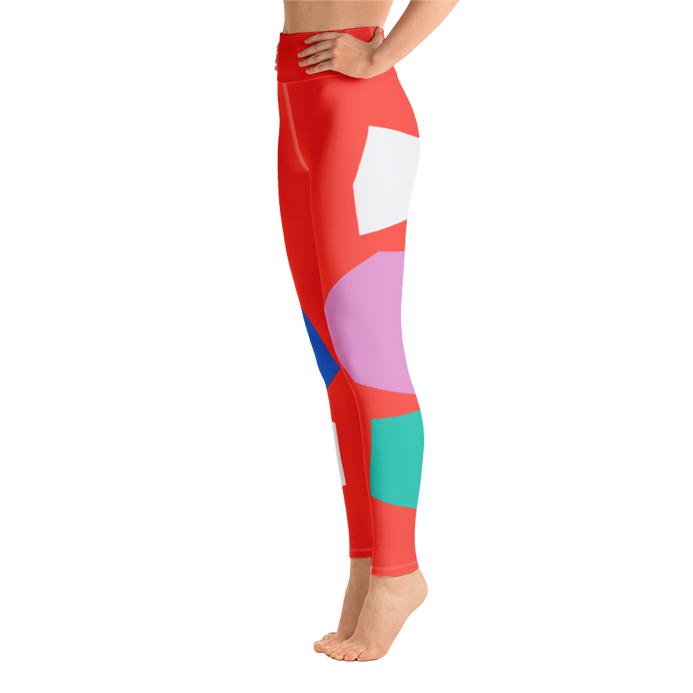 Red High Waist Yoga Leggings with Blue Pink Yellow and Green Geometric Shapes
