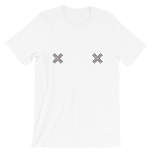 Flat lay of White unisex Xoo Life T-shirt with two graphic x's in black and red on each breast.