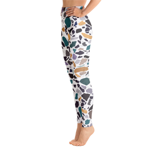 Green and Lavender Terrazzo Accent on White High Waist Yoga Leggings