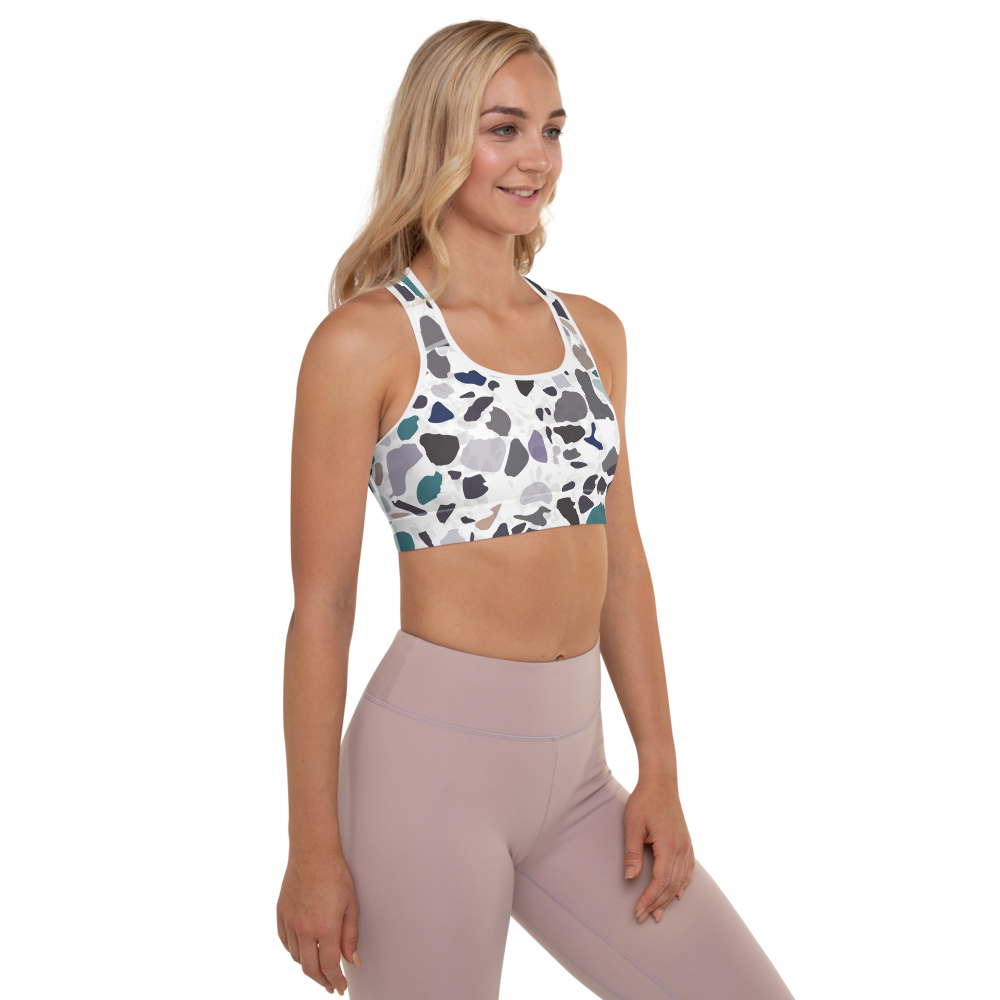 Green and Lavender Terrazzo Accent on White Padded Sports Bra