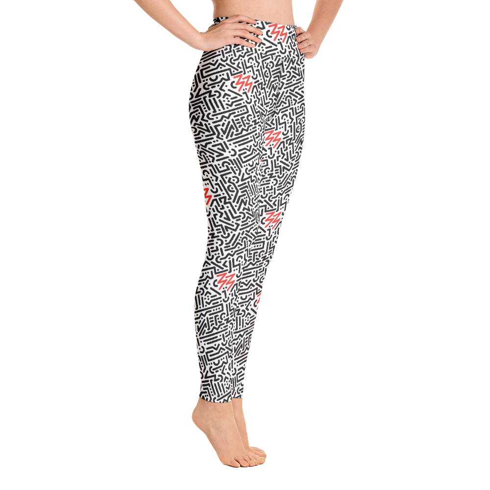 White high-waisted Xoo Life leggings with black geometric line pattern and red 33