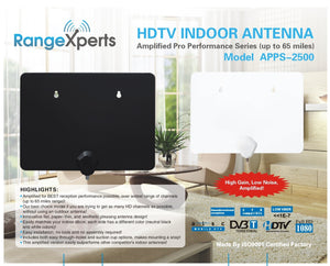 65 Mile Amplified Indoor HD TV Antenna