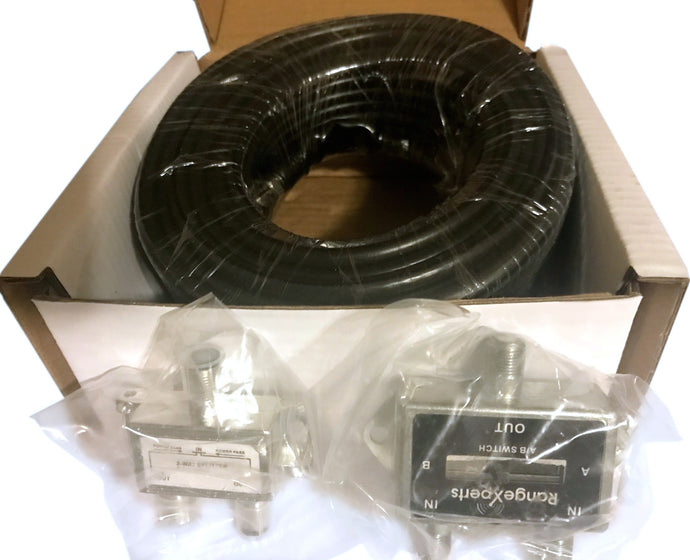 Coax & Accessory Kit Sale! - 50ft of Low Loss RG6 Coax Cable plus FREE Combiner/Splitter, & Coax Switch!