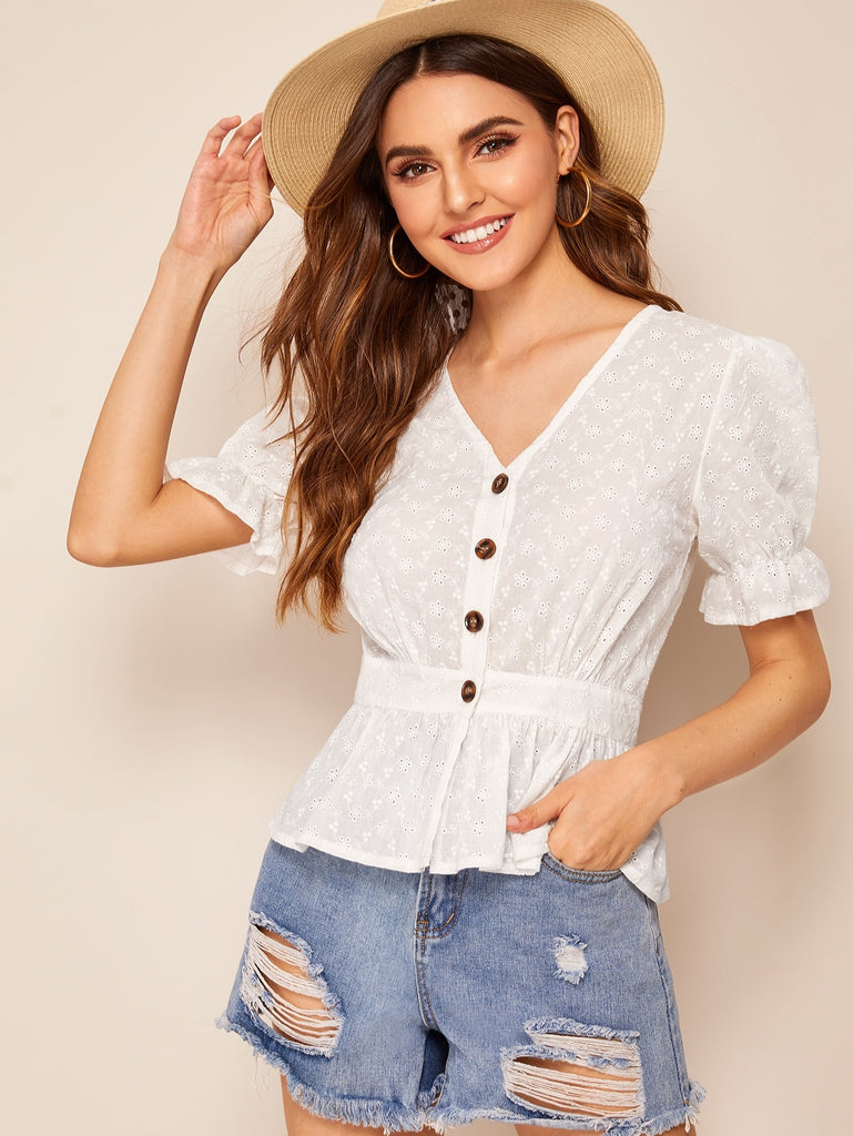 Button Front Eyelet Embroidered Blouse - Bentley York