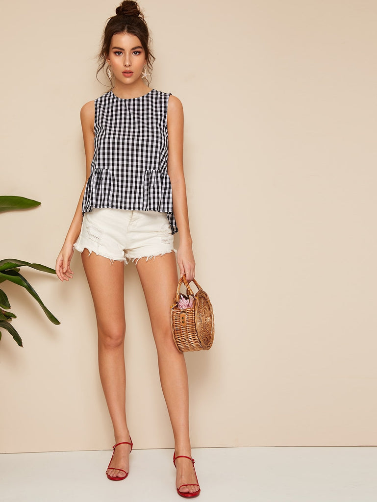 Smock Gingham Shell Top - Bentley York