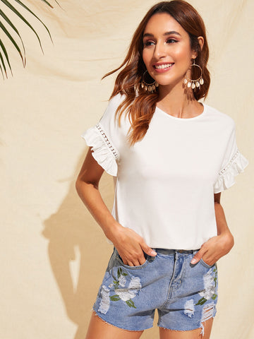 Ruffle Trim Guipure Lace Detail Top - Bentley York