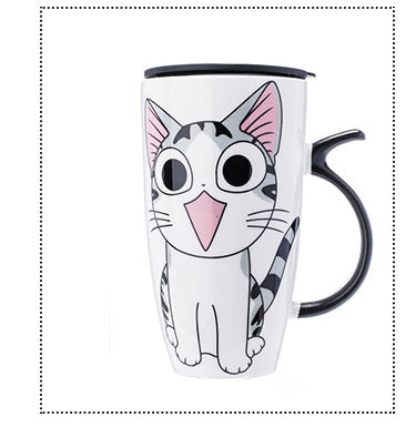 Cat Ceramic Mug With Lid and Spoon