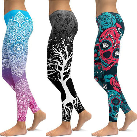 Print Yoga Workout Sports Running Women Unique Fitness Elastic Slim Leggings - Bentley York