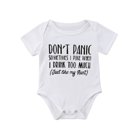 Newborn Infant Baby Boys Girls Funny Letter Cotton Romper Jumpsuit Clothes Outfits - Bentley York