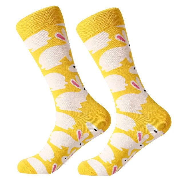 1 pair unisex socks combed cotton cartoon animal bird shark zebra corn watermelon sea food geometric novelty funny socks - Bentley York