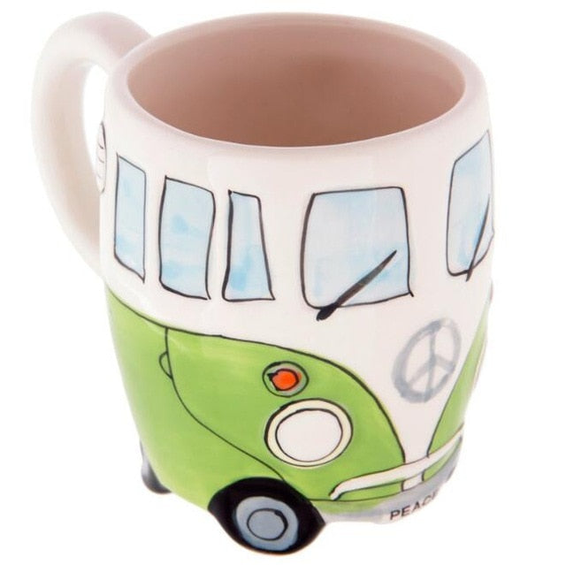 Retro Ceramic Coffe Mug Hand Painting Double Bus