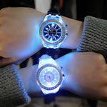 led Flash Luminous Watch Personality trends students lovers jellies woman men's watches 7 color light WristWatch - Bentley York