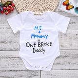 Newborn Onesie Short Sleeves Tiny Cottons Baby Bodysuits Me+Mommy=One Broke Daddy Letter Print White Onesie Funny Baby Clothes - Bentley York