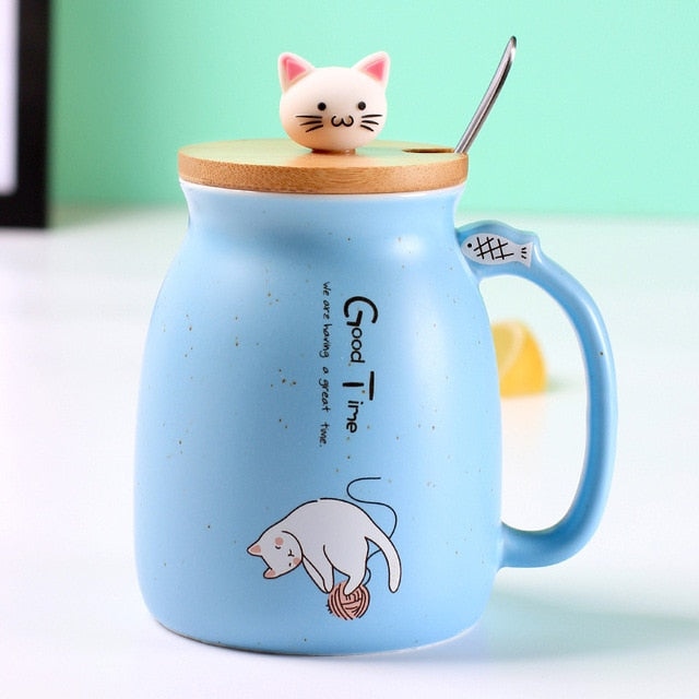 Children cartoon cat Mug heat-resistant ceramic & lid