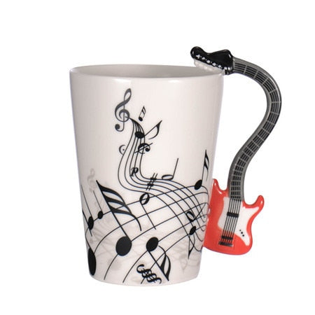 Guitar Ceramic Coffee Cup Music Note Red 2